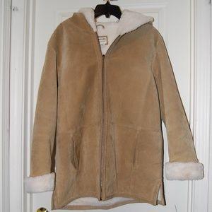 Suede faux-fur lined winter coat
